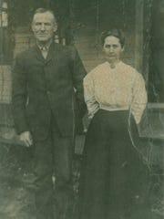 Lizzie Harton (right) was one of the church's 12 charter members. She is pictured here with her husband, Billy.