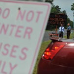 Officials at Lakeside Middle School have come up with a strategy to prevent cars from using the school's property as a cut through to the neighboring Target store, Tuesday, May 25, 2016 in Millville.