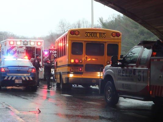 School bus hits Yonkers overpass