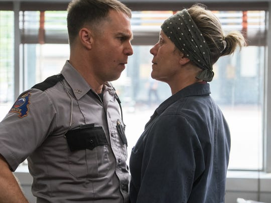 Sam Rockwell, left, and Frances McDormand in a scene from 'Three Billboards Outside Ebbing, Missouri.' Both take home Golden Globes for their performances in the movie.