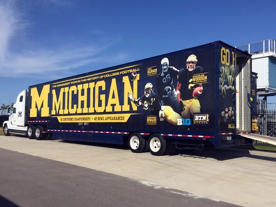 A Michigan equipment truck is parked next to a practice field at IMG Academy on March 1, 2016 in Bradenton, Fla.