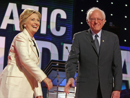 Hillary Clinton and Bernie Sanders during CNN's  Democratic debate at the Brooklyn Navy Yard on April 14. Polls have Clinton holding a double-digit lead in New York.