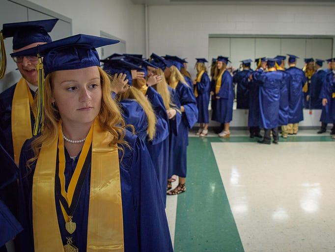 Chincoteague High's Class of 2018 starts to line up