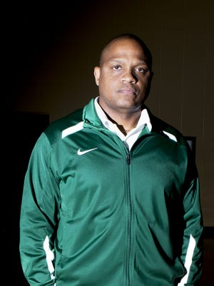 Rayville head basketball coach Damon West poses for a portrait in the school's gym on Wednesday, March 15, 2017. West is the recipient of the All-NELA Boys Coach of the Year award.