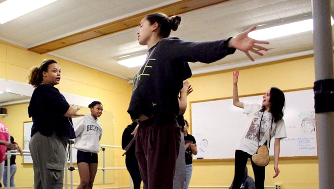 """Oakwood Friends School students Willow Bennison (grade 9), left, Briana Uket (grade 11), Olivia Castanza-Leaure (grade 10) and Alexandria Weinraub (grade 12) rehearsing for the school's production of """"Ladies Day,"""" which opens Friday at the Poughkeepsie campus."""