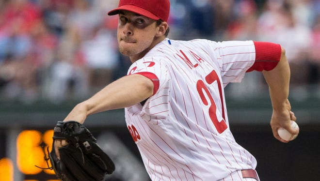 Phillies starting pitcher Aaron Nola pitches against the Kansas City Royals Saturday at Citizens Bank Park. Manager Pete Mackanin announced Sunday that Nola's next start will be skipped.