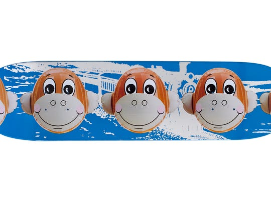 Jeff Koons' Monkey Train blue skateboard is artwork included among 200 items up for auction to benefit York County's Child Abduction Response Team.