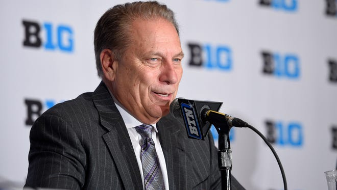 Michigan State head coach Tom Izzo speaks at a press conference during Big Ten media day.