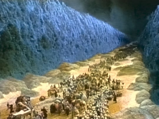 The parting of the Red Sea, as depicted in 1956's 'The Ten Commandments.'