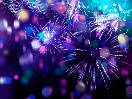 bright sparkling multicolor fireworks and confetti