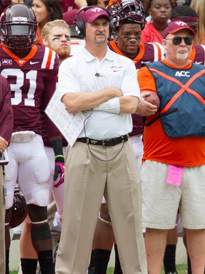 Virginia Tech Hokies defensive coordinator Bud Foster stands on the sidelines during the second quarter against the Pittsburgh Panthers at Lane Stadium.