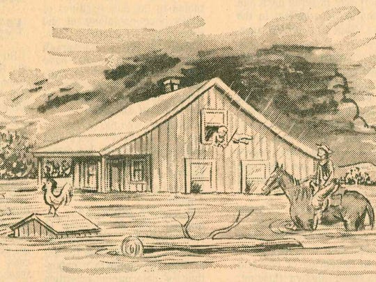 "Original caption: ""THE RESCUE"" - An illustration of the Ben Ficklin flood shows a young lady trapped in the second floor of a ranch house as it swept downstream. A cowboy caught with his horse in the flood, rescued her, thanks to his swimming ability and the fact that he induced her to tie herself to him with a bedsheet."""
