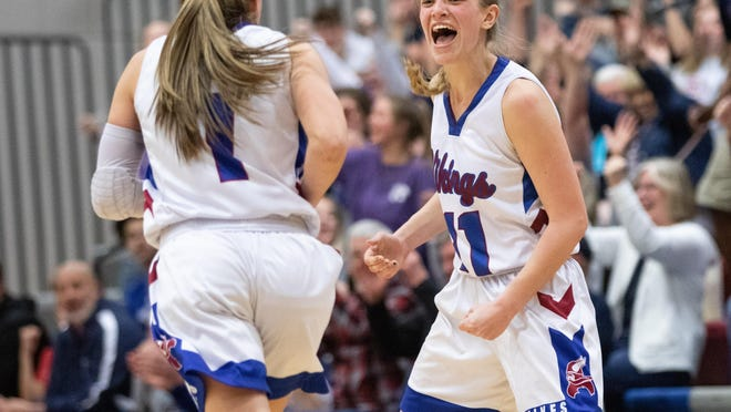 Seaman's Chloe Carter, right, shows jubilation during the Vikings' 2020 Class 5A sub-state championship game. Carter scored 17 points with 10 rebounds and 5 blocks as Seaman advanced to state for the second straight season.