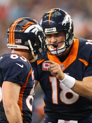 Broncos QB Peyton Manning (18) and WR Wes Welker are entering their second season as teammates.