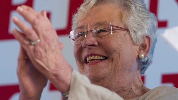 Governor Kay Ivey is all smiles as the city of Camden and Wilcox County celebrate Kay Ivey day at The Shed outside of Camden, Ala. on Friday evening June 30, 2017.