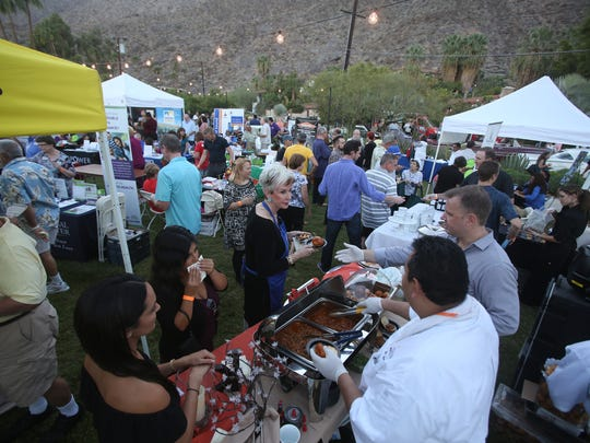 "Local restaurants and other businesses make presentations at the Palm Springs Chamber of Commerce Business Expo and Taste of Palm Springs on Tuesday at the Colony 29 events and vacation rental space. The Palm Springs Chamber of Commerce Business Expo & Taste of Palm Springs  featured numerous local businesses and restaurants with booths and other information in Palm Springs on September 30, 2014 at ""The Colony""."