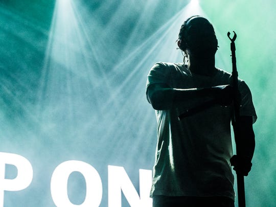 Kendrick Lamar performs during Day 3 of the Okeechobee Music and Arts Festival on Saturday, March 5.