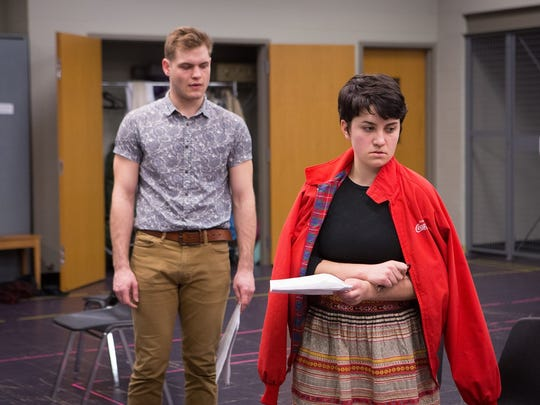 "Student actors Sam McLellan and Haley Haupt rehearse an emotional scene from ""Dogfight,"" staged May 6-8 and 11-13 at UW-Stevens Point."