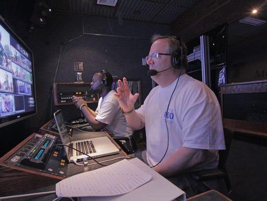 MTSU's Bob Gordon, right, video production faculty