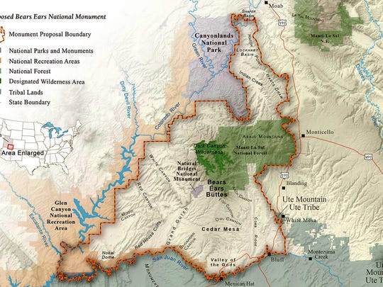 The proposed 1.9 million-acre Bear Ears National Monument