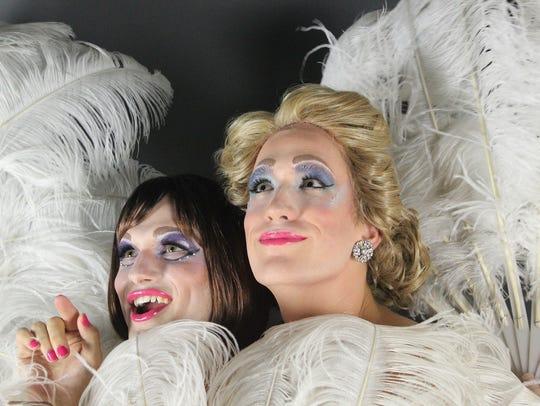 Actors Sam McLellan and Joel Roberts dress in drag