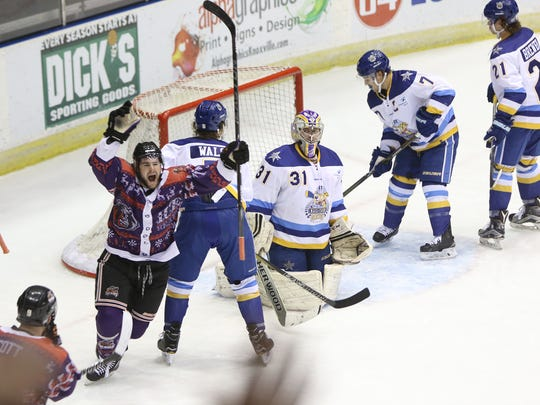 Knoxville's Luke Sandler scores a goal in the first period against Roanoke on Friday at Knoxville Coliseum.