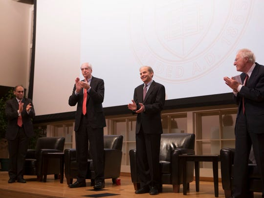 From left, Sumatra Dutta, Hunter Rawlings, H. Fisk Johnson and Frank H.T. Rhodes on Tuesday.