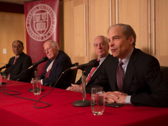 From left, Soumitra Dutta, Frank H.T. Rhodes, Hunter Rawlings and H. Fisk Johnson on Tuesday.
