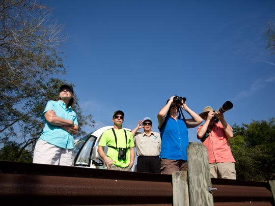 A group of Wisconsinites look out for birds and other wildlife at Resaca de la Palma State Park and World Birding Center in the Lower Rio Grande Valley. The region is one of the preeminent birding locales in the Unites States.