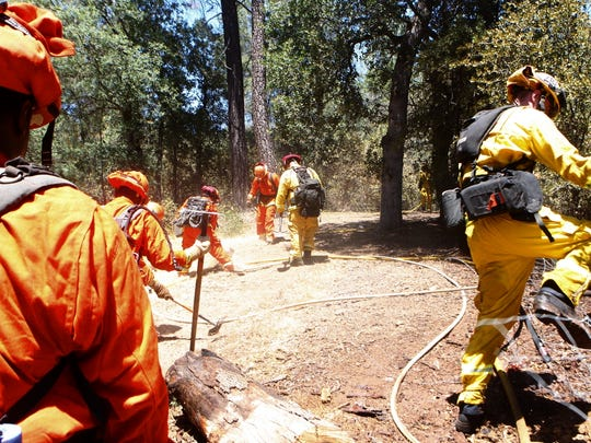 Ground crews clean up after a vegetation fire in Bella