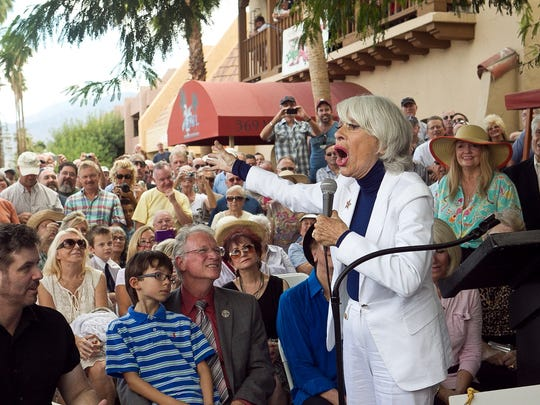 Carol Channing sings to the crowd during her Palm Springs Walk of Stars presentation in 2010.