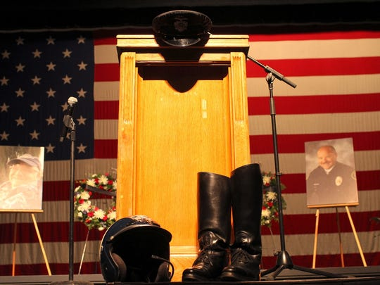 Doug Carney, a former Redding Police motorcycle officer, was honored at a memorial at the Redding Civic Auditorium on Sunday morning.