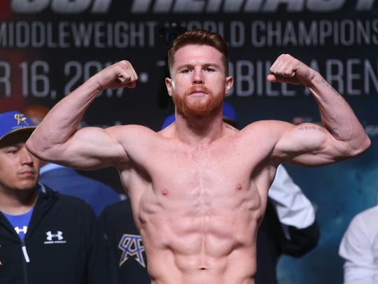 Canelo Alvarez.weighs in at 160 pounds at the MGM Grand