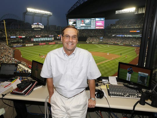 Kevin Cremin in the radio booth at Safeco Field.