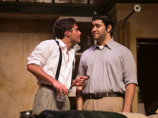 "Ryan Bates stars as Stanley and Jared Kedzia plays Mitch in the Moorpark College Theatre Arts production of Tennessee Williams' ""A Streetcar Named Desire."""