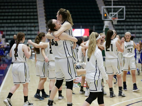 Susquehanna Valley players celebrate after winning Sunday's Class B final at the Federation Tournament of Champions.