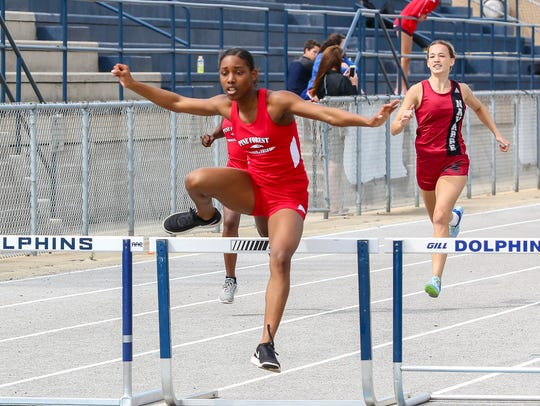 Pine Forest's Koriyunna Arrington wins the 300m hurdles