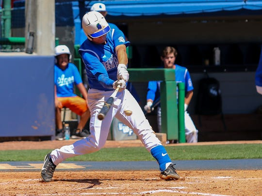 UWF's Joey Bend (24) hits an RBI single, scoring Jacob Silverstein from second base, against West Georgia on Jim Spooner Field at the University of West Florida on Saturday, March 31, 2018.