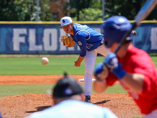 UWF's Hunter Lucas (34) pitches to West Georgia's Cade