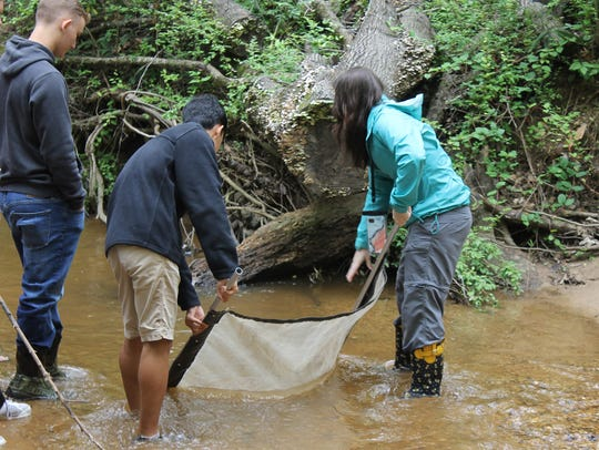 Over 50 students experienced pond exploration and creek