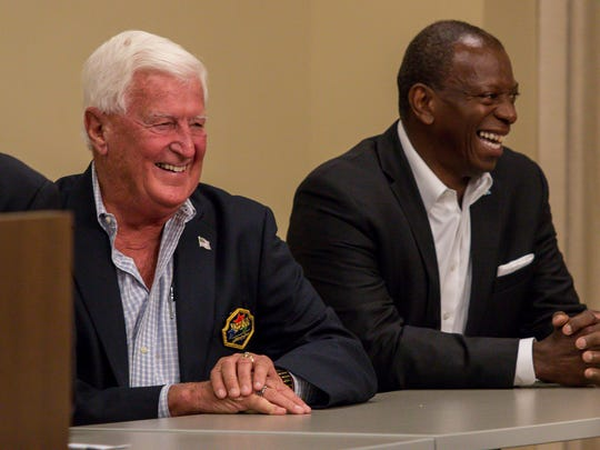 Gordon Sprague, vice president of the Florida Sports Hall of Fame, left, and Keith Hoskins, western district general manager for Gulf Power, share a laugh during a press conference to announce a partnership between the Florida Sports Hall of Fame and Andrews Institue at the Andrews Performance & Research Pavilion in Gulf Breeze on Tuesday, May 15, 2018. This year's Hall of Fame induction ceremony, featuring local sports icons Justin Gatlin, Roy Jones, Jr., Michelle Snow, and others, will be held on November 7 at the National Naval Aviation Museum on NAS Pensacola.