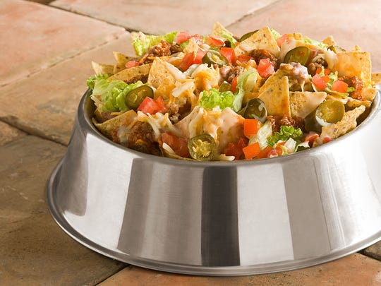 Bo's Double Dog Nachos come in a stainless steel dog