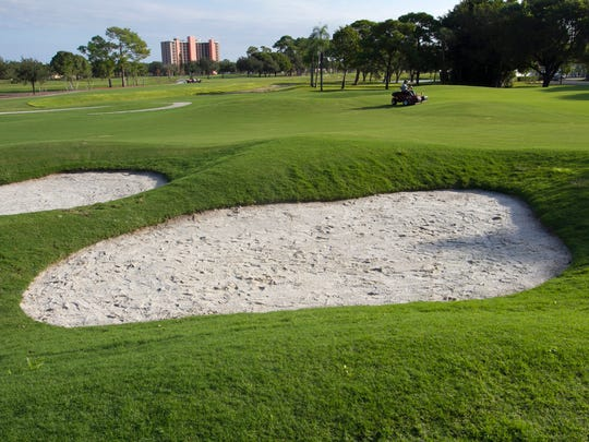 The second hole at Fort Myers Country Club is longer and the green now has sand traps next to it.