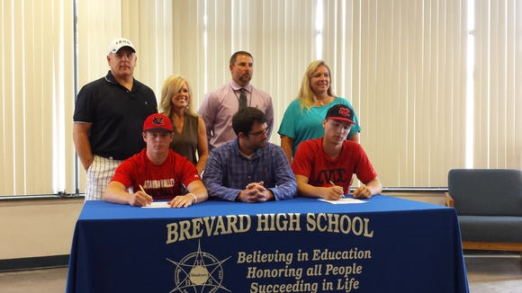 Brevard seniors Cole Batson and Nick Mehalic have signed to play baseball for Catawba Valley Community College.