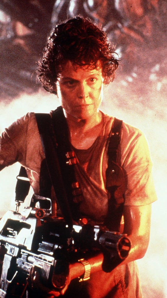 Ripley has a bone to pick with the alien queen in 'Aliens.'