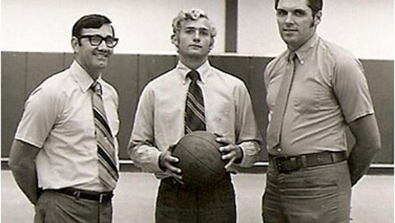 Marvin Beck Sr., left, in this photo as UWF basketball coach with signee Dickie Appleyard (center), now president of Appleyard Agency. Dick Appleyard, a 1969 PHS grad  transferred to UWF from Alabama and was part of the Argos early seasons under Marvin Beck.