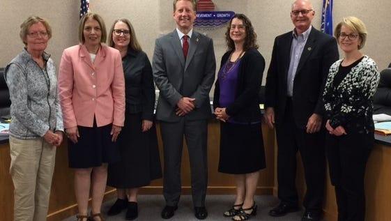 Linda Uselmann is new president of the Fond du Lac Board of Education. From left are Elizabeth Hayes, board secretary;  Susan Jones, Monica Walk, Mark Jurgella, treasurer; Uselmann, Mark Strand and Peggy Breister, vice president.