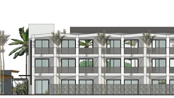 An architect's drawing of the west elevation of the proposed Belardo Hotel in Palm Springs. The existing Hacienda Cantina & Beach Club sits on the left.