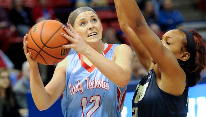 Louisiana Tech guard Brooke Pumroy drives to the basket in a game earlier this week against FIU. The Techsters edged FAU on Saturday night at the TAC.