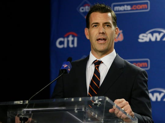 New York Mets new general manager Brodie Van Wagenen speaks during an introductory news conference Tuesday, Oct. 30, 2018, in New York. (AP Photo/Frank Franklin II)